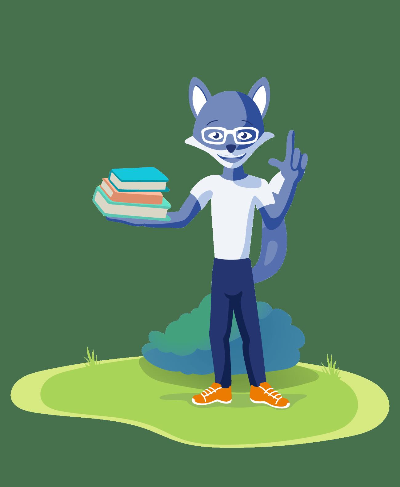 Mascotte renard Foxglove SEO - livres - Foxglove Agence SEO experts seniors